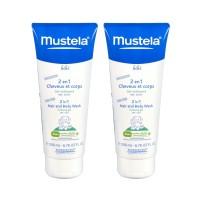 Мустела BеBе время купаться гель-шампунь для тела и волос 2 в 1 (Mustela BeBe) 200ml+200ml