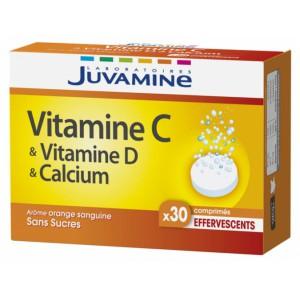 Купить Жувамин витамин C, витамин D, кальций (Juvamine, Multivitaminы) 30 шипучих таблеток из категории Пищевые добавки
