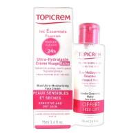 Топикрем Ультра-Увлажняющий крем для лица обогащенный+очищающая вода в подарок (Topicrem, Essentials) 40 мл